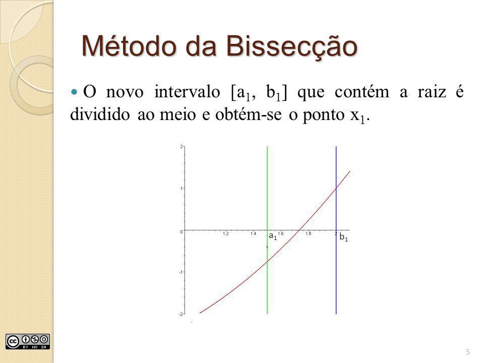 Método da Bissecção O novo intervalo [a1, b1] que contém a raiz é dividido ao meio e obtém-se o ponto x1.